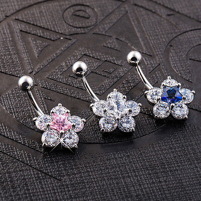 Navel Belly Bar Crystal Dangly Body Piercing Belly Button Ring Ice Flower