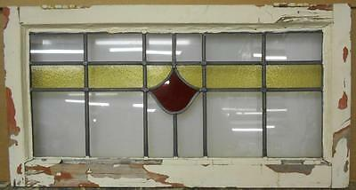 "LARGE OLD ENGLISH LEADED STAINED GLASS WINDOW Nice Floral Design 30.5"" x 16.25"""