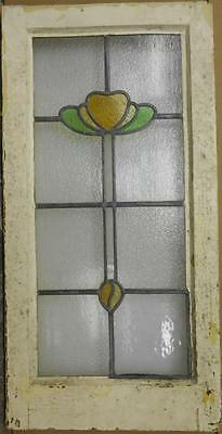 """LARGE OLD ENGLISH LEADED STAINED GLASS WINDOW Pretty Floral Design 16.25"""" x 32.5"""