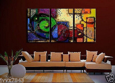 Modern Wall Decor Art Abstract Huge Oil Painting On Canvas 3pc No Frame