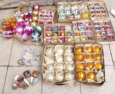 Large Vintage Christmas Decorations Lot  Hand Painted Glass Ornaments 1950's
