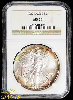 1987 S$1 Silver Eagle Golden Toned NGC MS69 BU Bullion US Coin Early Year ASE