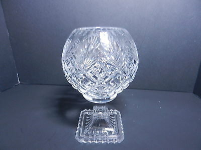 "Contemporary Cut Glass Rose Bowl Footed Cross Hatch & Fan Cuts Clear 7 1/4"" T"