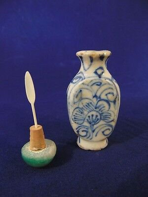 Chinese Blue & White Porcelain Snuff Bottle Flatten Bottle Shape 19th Century