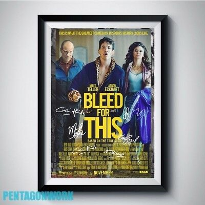 BLEED FOR THIS 2016 Movie Full Casts Autograph Reprint Poster A4 A3 MILES TELLER