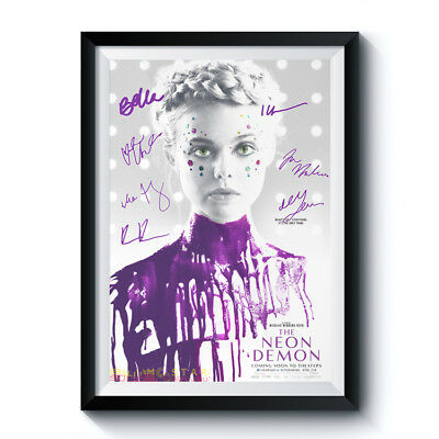 THE NEON DEMON Movie Full Casts Autographed RPT Poster A4 A3 5R ELLE FANNING +