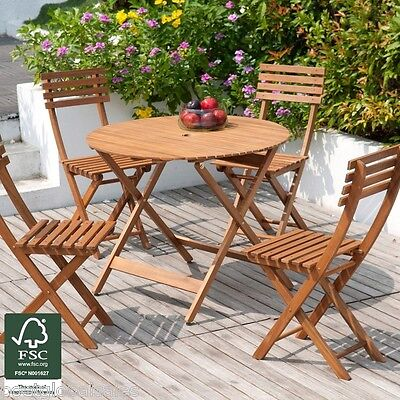 Garden patio furniture set 4 seater acacia wood dining for Outdoor furniture 4 seater