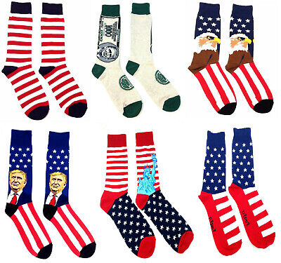 Usa American Flag Eagle United States Patriotic Stars Stripes Mens Crew Socks