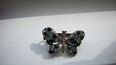 Vintage Blue Crystal BUTTERFLY small Silver Hair Barrette Stamped made in France