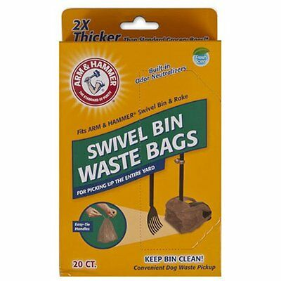 Arm & Hammer 71035 Swivel Bin Waste Bags, Penny, 20-Pack, extra thick, NEW [AOI]