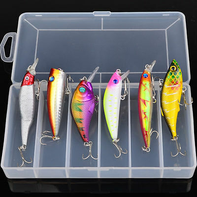 6Pcs/lot Box Mixed Color Hook Fishing Lures Crank Popper VIB Jointed Bait Tackle