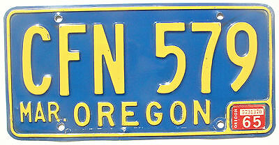 Oregon1965 Vintage License Plate Garage Old Car Auto Tag CFN Blue Man Cave