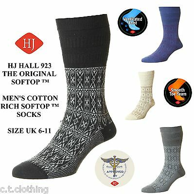 HJ Hall Gents softop cotton sock Non elastic comfort top  Aztec HJ923 UK 6-11