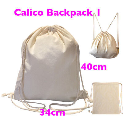 Calico Bags Backpack Library Bag 34 x 40cm Cotton Tote Bag Pkts: 1 - 200