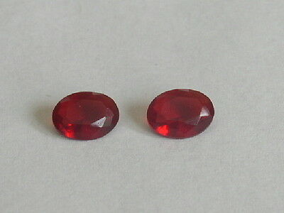 Excellent Ruby Red Helenite Oval Pair 2- 8X6 Mm