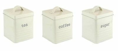 Set of 3 Tea Coffee Sugar Jars Tins Canisters Storage Wooden Lid Kitchen White