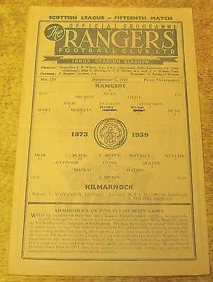 1959/60 SCOTTISH DIVISION ONE - RANGERS v KILMARNOCK - 5 DECEMBER