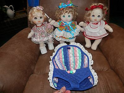 Lot Of 3 Gorgeous Dressed '85 Mattel My Child Dolls & My Child Doll Carrier Seat