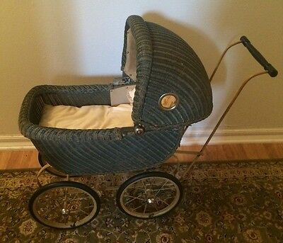 Antique Vintage Wicker Victorian Doll  Stroller Buggy with Matterss and Pillow