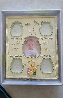 WINNIE THE POOH BABY MILESTONE PICTURE FRAME 11 x 9 NEW NIB FIRST DAY STEP SMILE
