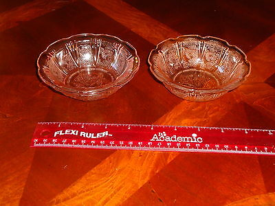 LOT Jeanette Glass Co Cherry Blossom Pretty Pink Berry Sherbert Bowls Set Of 2
