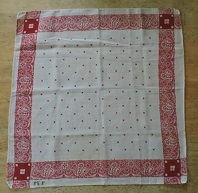 19Th C Red And White Cotton Bandana Work Wear W Initials