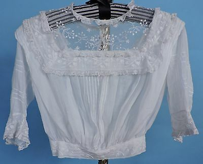 Edwardian Child'S Batiste Blouse With Embroidered Net Collar