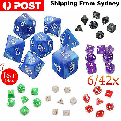7/42X Polyhedral Dice For Dungeons Dragons DND RPG D20 D12 D10 D8 D6 Game Party