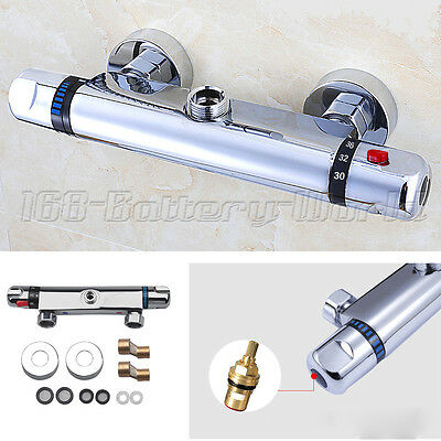 """Thermostatic Shower Valve Top 3/4"""" Outlet Mixer Bar Exposed Chrome Tap Round"""