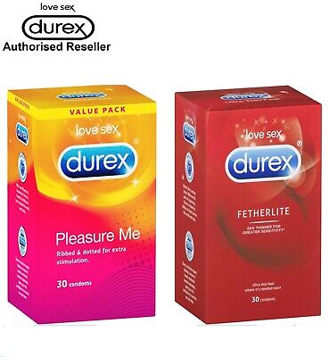 Twin Pack Durex Fetherlite Ultra Thin Feel & Pleasure Me 60 Condoms Retail Box