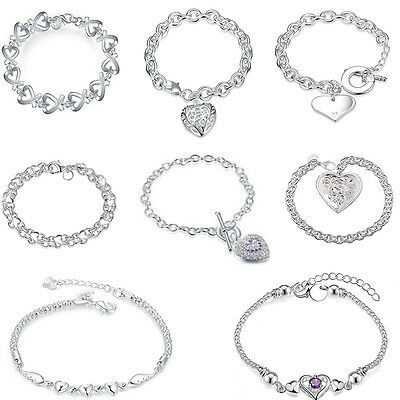 Fashion 925 Sterling Silver Plated Heart Pendant Bracelet Bangle Link Chain Gift