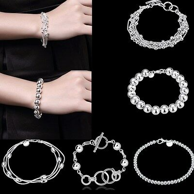 Fashion Women's Solid Sterling Silver Plated Chain Jewelry Ball Beads Bracelet
