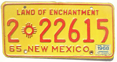 New Mexico 1968 on 1965 Base Vintage License Plate Garage Old Car Tag Man Cave