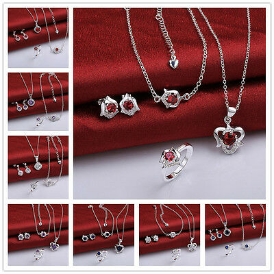 Ladys Xmas Gift Jewelry 925 Silver Heart Earrings Necklace Bracelet Ring Set