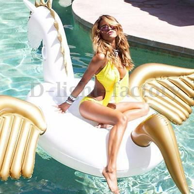 75'' Giant Inflatable Unicorn Pegasus Float Swimming Pool Beach Waterbed Party