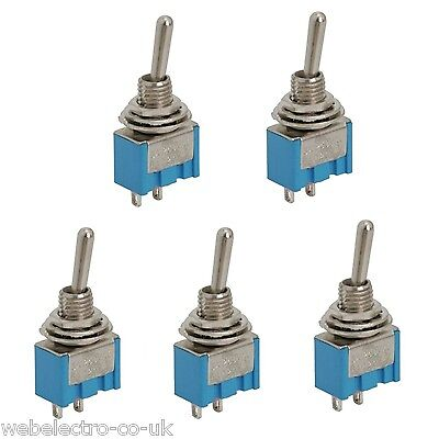 09016 5x SPST Miniature Toggle Switch 2 Position 2 PIN (ON-OFF) 3A 250V