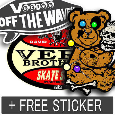SKATE STICKERS, by Voodoo Street, self adhesive waterproof! Surf, BMX, camper