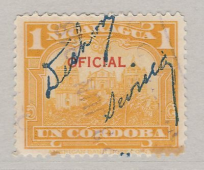 A2P36 NICARAGUA OFFICIAL STAMP 1933 OPTD 1cor USED #2