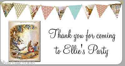 24 X Personalised Stickers Peter Rabbit Bunting Flags Party Thank You Labels