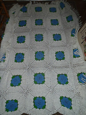 Vintage Hand Made Crocheted Afghan Bedspread White Knit 3D BLUE Roses Raised
