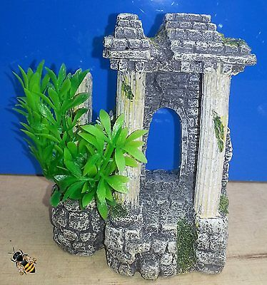Ancient Columns and Plant Aquarium Ornament Fish Tank Bowl Decoration New