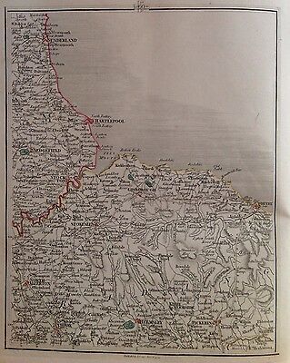 County Durham 1794 Cary's Antique Map Hartlepool Sunderland Whitby Pickering