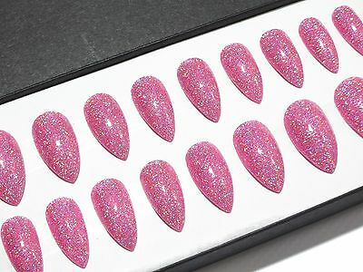 Stiletto Pink Holographic Glitter Hand Painted Press On Fake False Acrylic Nails
