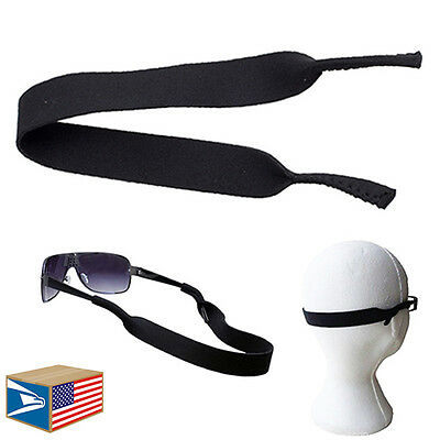 6 LOT NEOPRENE SUNGLASSES SPORTS BAND Black EYEGLASSES GLASSES STRAP HOLDER!