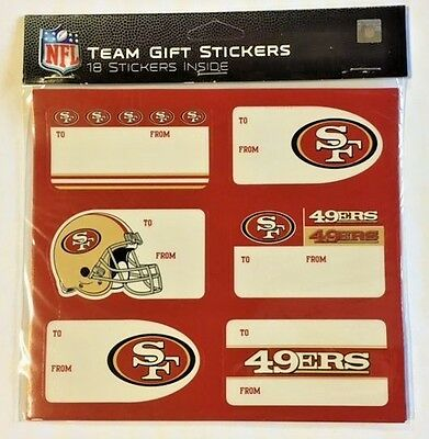 San Francisco 49ers Christmas Present Name Labels - Team Gift Stickers - To/From