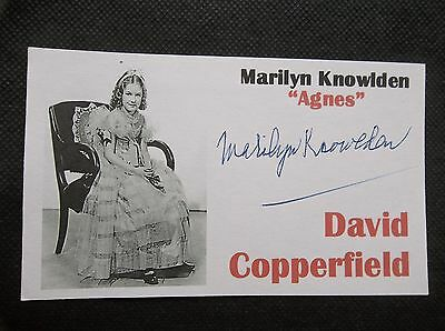 """""""david Copperfield"""" Marilyn Knowlden Autographed 3X5 Index Card"""