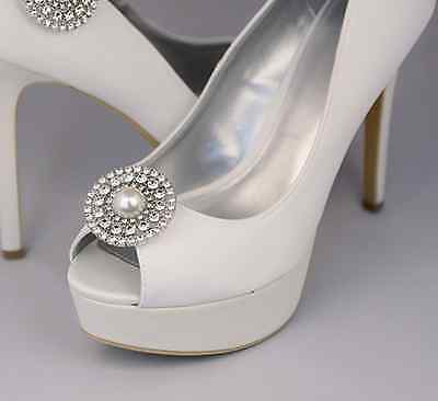 Fashion Style Wedding Shoes Crystal Pearl High Heel Charm Shoe Clips Pair