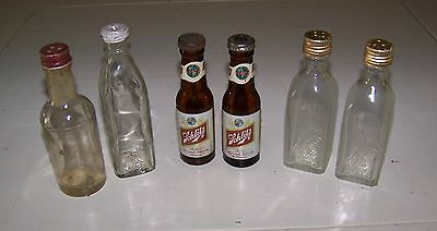 3 Pairs of  Miniature Liquor Bottle Salt and Pepper Shakers - Schlitz & Gilbey's