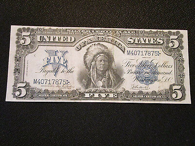 1899 Silver Certificate $5 Dollar Large Note Indian Chief