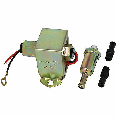 New Universal 12V Electric Fuel Pump Solid State Kit With Fittings 4-6PSI 130LPH